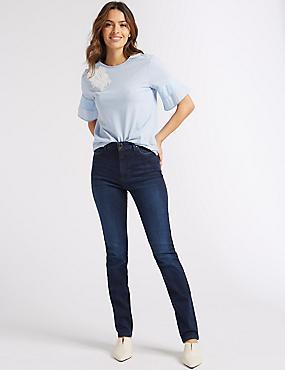 Embellished Roma Rise Slim Leg Jeans, INDIGO MIX, catlanding