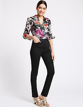Embellished Roma Rise Slim Leg Jeans, BLACK, catlanding