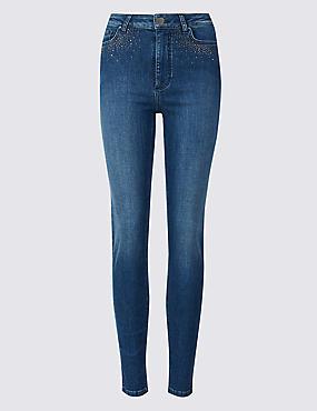 Embellished Roma Rise Skinny Jeans, MEDIUM BLUE, catlanding