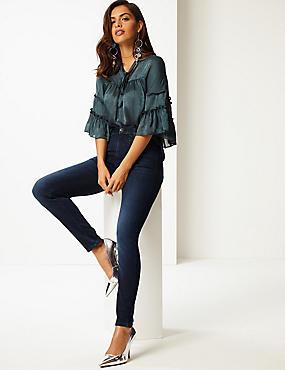 Embellished Roma Rise Skinny Jeans, INDIGO MIX, catlanding
