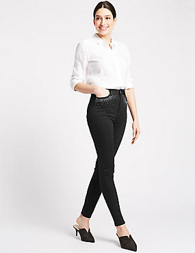 Embellished Roma Rise Skinny Jeans, BLACK, catlanding