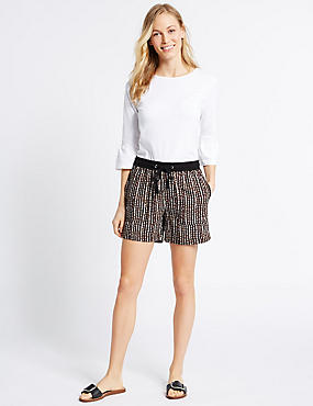 Linen Rich Printed Shorts