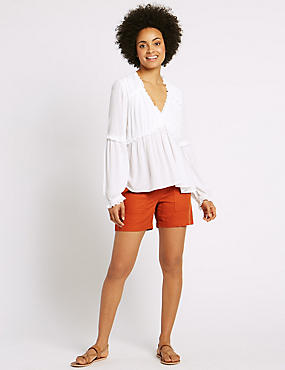 Linen Rich Drawstring Shorts