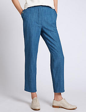 Denim Cropped Chinos
