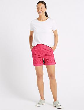 Pure Cotton Palm Print Casual Shorts , PINK MIX, catlanding