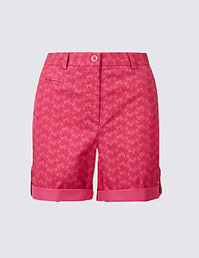 Pure Cotton Palm Print Casual Shorts , PINK MIX, catlanding