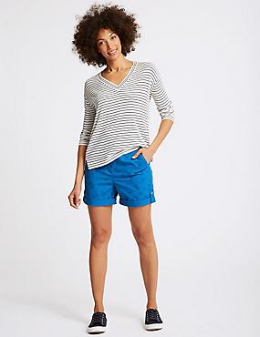 Pure Cotton Palm Print Casual Shorts , BLUE MIX, catlanding