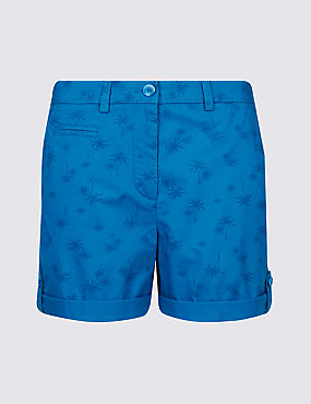 Pure Cotton Palm Print Casual Shorts , BLUE MIX, catlanding