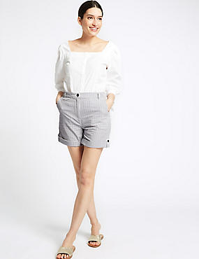 Pure Cotton Striped Casual Shorts , NAVY MIX, catlanding