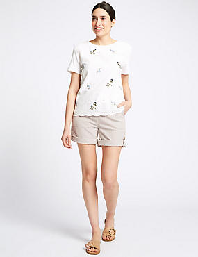 Pure Cotton Striped Casual Shorts , NEUTRAL, catlanding