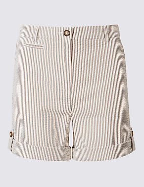 Pure Cotton Striped Casual Shorts
