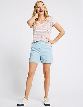 Pure Cotton Casual Shorts, SOFT BLUE, catlanding