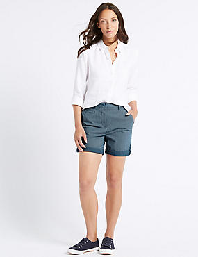 Pure Cotton Casual Shorts, NAVY MIX, catlanding