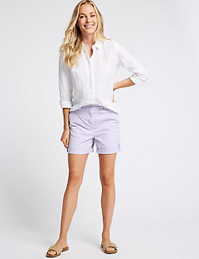 Pure Cotton Casual Shorts, LAVENDER, catlanding