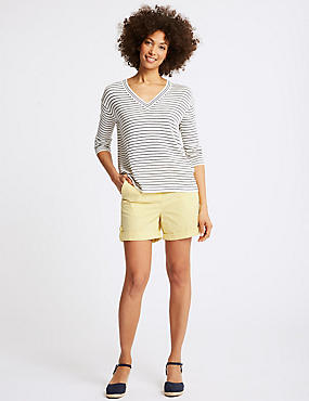 Pure Cotton Casual Shorts, YELLOW, catlanding
