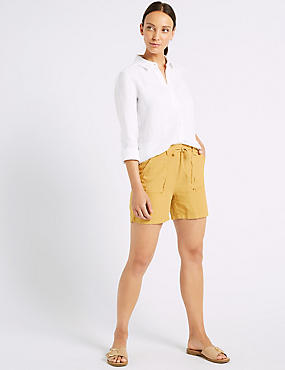 Linen Rich Patch Pocket Shorts, OCHRE, catlanding