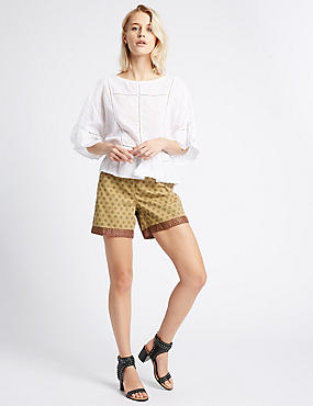 Pure Cotton Printed Trim Shorts