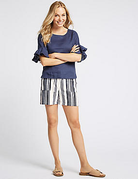 Linen Rich Striped Casual Shorts , IVORY MIX, catlanding