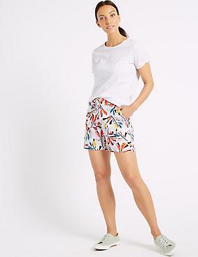 Linen Rich Printed Casual Shorts , MULTI, catlanding