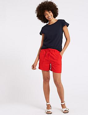Linen Rich Casual Shorts, RED, catlanding