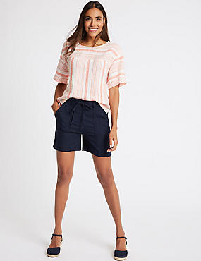 Linen Rich Casual Shorts, NAVY, catlanding