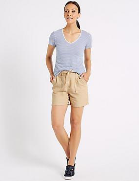 Linen Rich Casual Shorts, OYSTER, catlanding