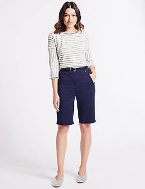 Cotton Rich Casual Shorts , NAVY, catlanding