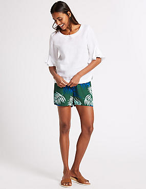 Leaf Print Casual Shorts , IVORY MIX, catlanding