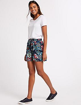 Floral Print Casual Shorts , NAVY MIX, catlanding