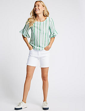 Mid Rise Denim Shorts , SOFT WHITE, catlanding