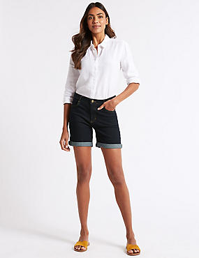 Mid Rise Denim Shorts , , catlanding