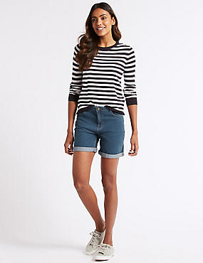 Mid Rise Denim Shorts , LIGHT INDIGO, catlanding