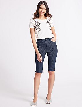 Mid Rise Denim Shorts  , INDIGO, catlanding