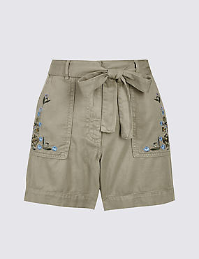 Cotton Blend Embroidered Shorts