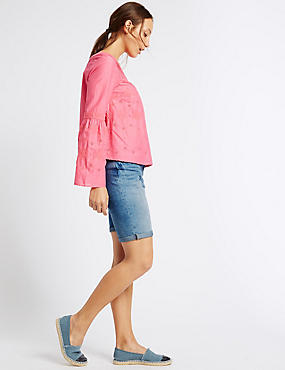 Denim Crosshatch Shorts