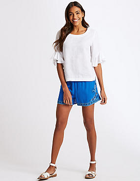 Embroidered Casual Shorts , BLUE MIX, catlanding