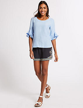 Embroidered Casual Shorts , NAVY MIX, catlanding