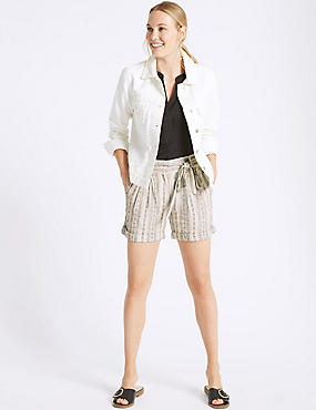 Linen Rich Striped Casual Shorts, BLACK MIX, catlanding