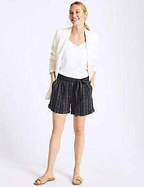 Linen Rich Striped Casual Shorts, BLUE MIX, catlanding