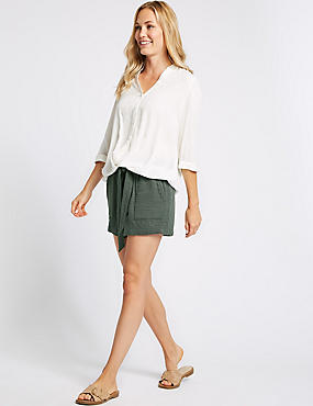 Pure Cotton Casual Shorts , SMOKE, catlanding