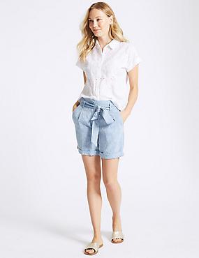 Pure Linen Textured Casual Shorts , BLUE MIX, catlanding