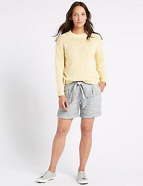 Pure Linen Textured Casual Shorts , GREY MIX, catlanding