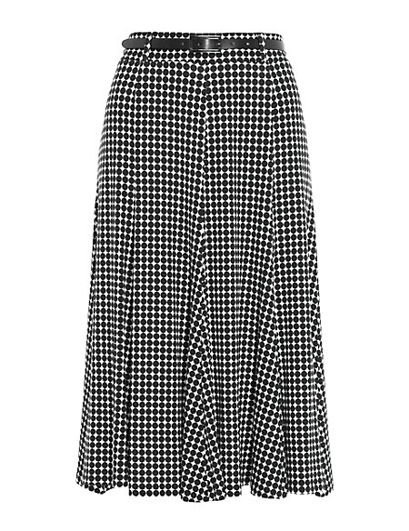 Linear Spotted Long Flippy Skirt with Belt