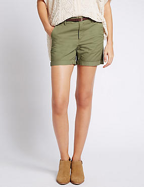 Pure Cotton Chino Shorts with Belt