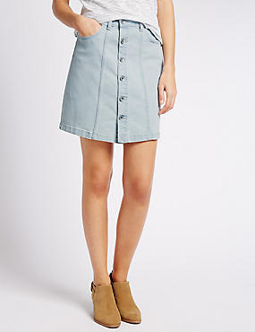 Denim Button Through Ripped A-Line Skirt