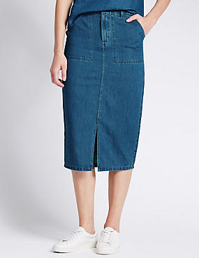 Tailored Fit Denim Midi Skirt with Linen