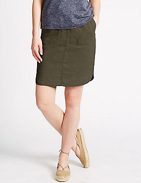 Pure Linen Garment Dye Skirt