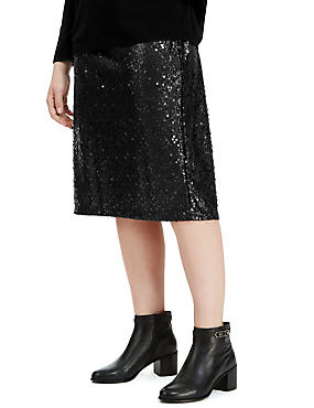 PLUS Sequin Embellished Pencil Skirt