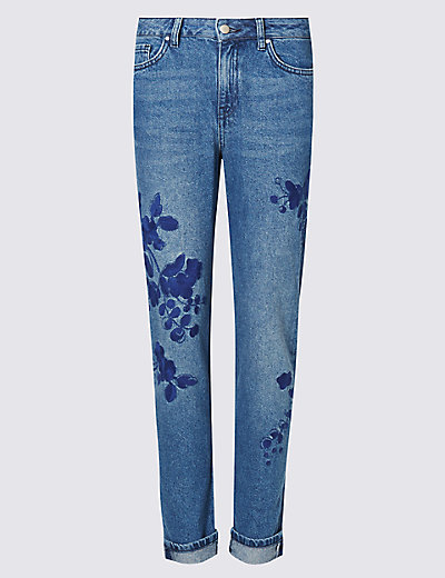 Embroidered ankle grazer girlfriend jeans m s