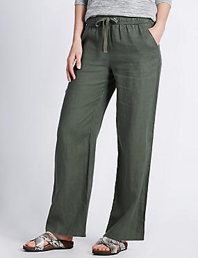 Pure Linen Wide Leg Beach Trousers